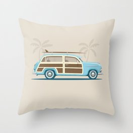 Iconic Surf Car Throw Pillow