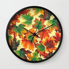 Autumn maple leaves I Wall Clock
