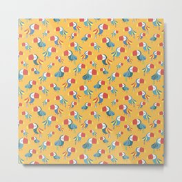 Toucans on a yellow background. Tropical bird pattern. Metal Print