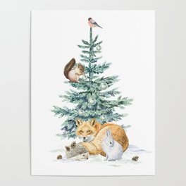 christmas tree in the forest Poster