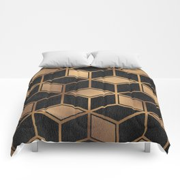 Charcoal and Gold - Geometric Textured Cube Design II Comforters