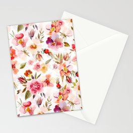 Hygge Watercolor Midsummer Dogroses Pattern  Stationery Cards
