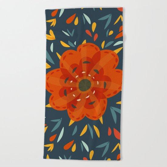 Decorative Whimsical Orange Flower Beach Towel