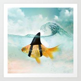 Goldfish with a Shark Fin, wave Art Print