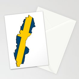 Sweden Map with Swedish Flag Stationery Cards