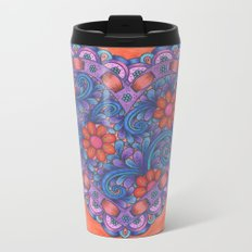 Heart with Ribbon Metal Travel Mug
