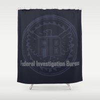 grand theft auto Shower Curtains featuring Grand Theft Auto V - FIB Federal Investigation Bureau by KeenaKorn