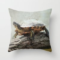 turtle Throw Pillows featuring turtle by Tanja Riedel