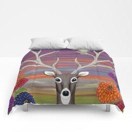 white tailed deer, owl, zinnias Comforters