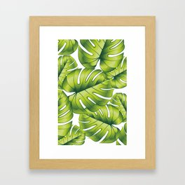 Palm leaves green pattern tropical art decoration Framed Art Print