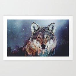 Wolf Double exposure Art Print