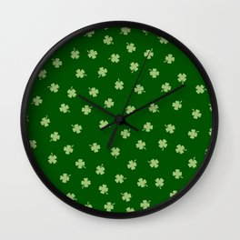 Green Shamrocks Green Background Wall Clock
