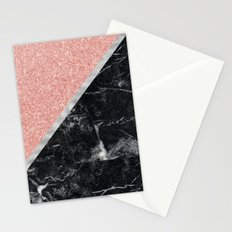 Faux Rose Glitter and Marble Pattern Stationery Cards