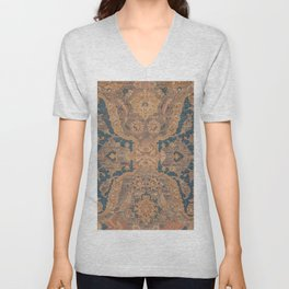 Persian Motif I // 17th Century Ornate Rose Gold Silver Royal Blue Yellow Flowery Accent Rug Pattern Unisex V-Neck