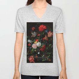 Still Life With Flowers By Jan Davidsz. de Heem Unisex V-Neck
