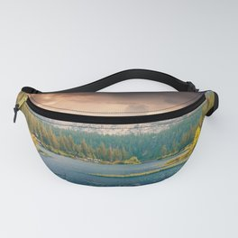 Mountains, Pines, Clouds Landscape Fanny Pack