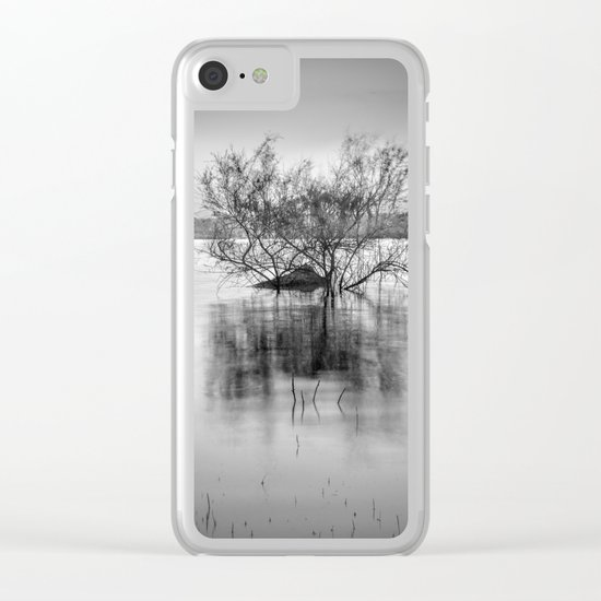 """Peace at the lake"". Dream sunset. Monochrome Clear iPhone Case"