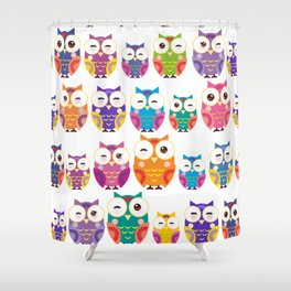 pattern - bright colorful owls on white background Shower Curtain