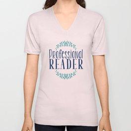 Professional Reader - White w Blue Unisex V-Neck