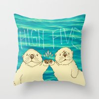 otters Throw Pillows featuring High Five / Sea Otters by Alissa Thiele