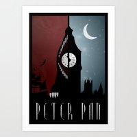 peter pan Art Prints featuring Peter Pan by Rowan Stocks-Moore