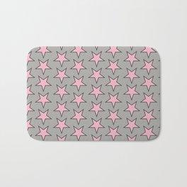 Stars pattern pink on grey Bath Mat