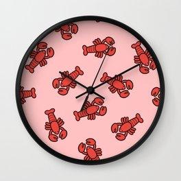 Lobster Pattern on Light Pink Wall Clock