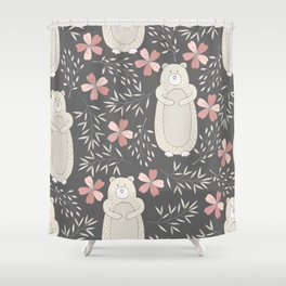 Bear and Flowers Shower Curtain