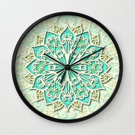 White cyan and yellow Beautiful Wedding Mandala Wall Clock