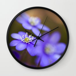 Happy Together Blue Anemones In Forest #decor #Society6 Wall Clock
