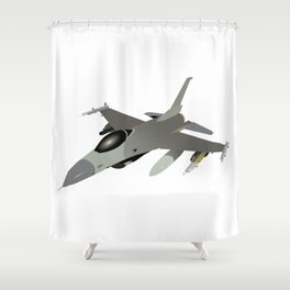American F-16 Jet Fighter Shower Curtain