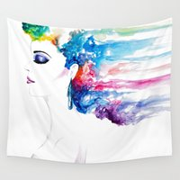rush Wall Tapestries featuring Vibrant Rush by Lindsey Kate