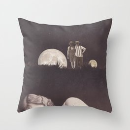 Moon on a meadow vintage 1920s Throw Pillow