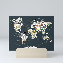 Cartoon animal world map for kids, back to school. Animals from all over the world Mini Art Print