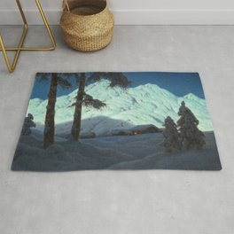 Winter Cabin in the Mountains landscape painting by Ivan Fedorovich Choultsé Rug