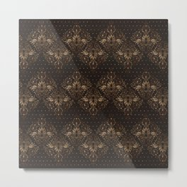 Persian Oriental pattern wood and gold Metal Print