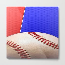 Baseball Sports on Blue and Red Metal Print