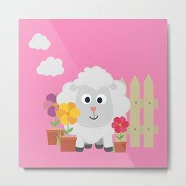 Gardening Sheep with flowers B67e8 Metal Print