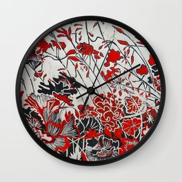 Woodcut Flowers in Red Wall Clock