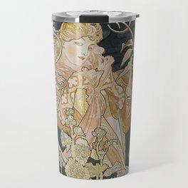 1898 - 1900 Femme a Marguerite by Alphonse Mucha Travel Mug