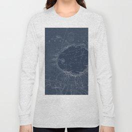 Crater Lake Blueprint Map Design Long Sleeve T-shirt