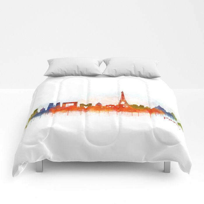 Paris City Skyline Hq v3 Comforters