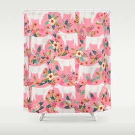 Charolais cattle farm must have gifts homesteader cow breeds florals Shower Curtain