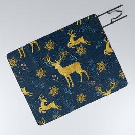 Golden Reindeer Picnic Blanket