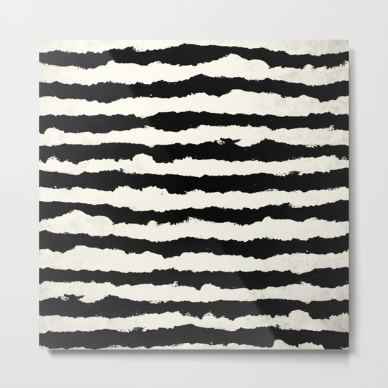 Tribal Stripes Black on Cream Metal Print