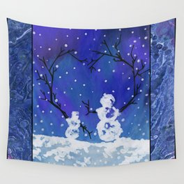 The Heart of Snowmen on a Winter Snowfall Day by annmariescreations Wall Tapestry