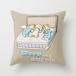 Sleep with angels Throw Pillow