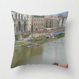 Florence - Life on the Arno 424 Throw Pillow