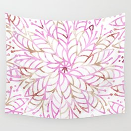 Girly blush pink brown watercolor floral mandala Wall Tapestry