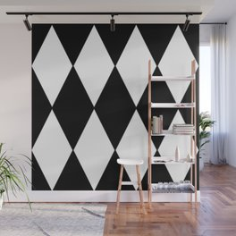 LARGE BLACK AND WHITE HARLEQUIN DIAMOND PATTERN Wall Mural